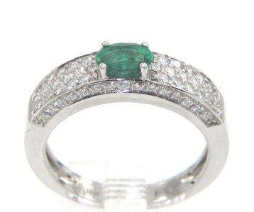 20: 18K White Gold Emerald & Diamond Ring