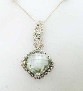 4: David Yurman Silver Prasiolite & Diamond Pendant