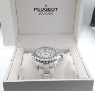 6A: Peugeot Ceramic Stainless Steel Porcelin Watch