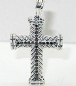 16: David Yurman Silver Black Diamond Cross Pendant