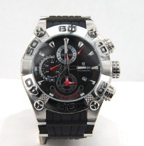9: 9: Croton Stainless Steel Chronograph Rubber Strap W