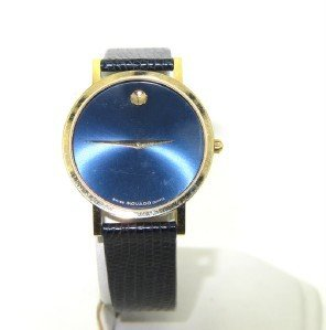 19: 19: Movado Yellow Gold Plated Leather Strap Watch