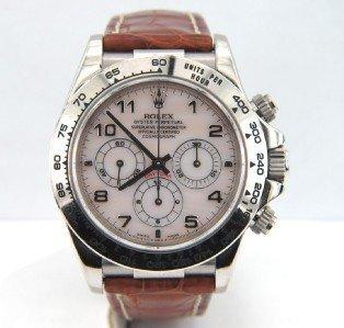 84: 84: Rolex 18K White Gold Chronograph Leather Strap