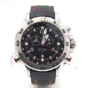 6: Nautica Stainless Steel Chronograph Leather Strap Wa