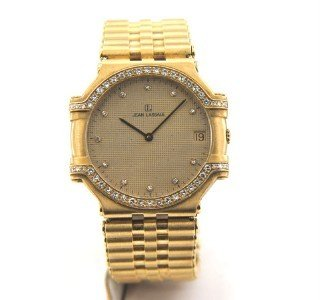 221: Jean Lassale 18K Yellow Gold Diamond Watch