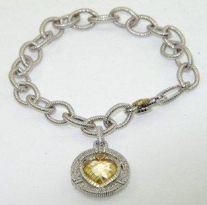 9: 9: Judith Ripka 18K Gold / Silver, Citrine Bracelet