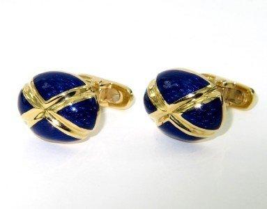 Salavetti 18K Yellow Gold Blue Enamel Cufflinks