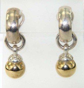 19: 19: Tiffany & Co Silver/18K Yellow Gold Earrings