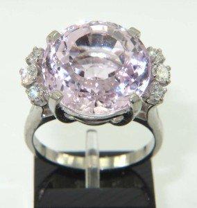 12: 14K White Gold Pink Kunzite & Diamond Ring