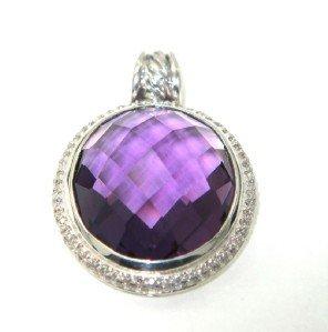 17: David Yurman Silver Amethyst Diamond Pendant