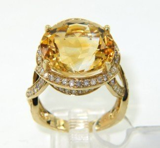 6B: 6B: 14K Yellow Gold Citrine & Diamond Ring