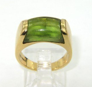 Bvlgari 18K Yellow Gold Cabochon Peridot Ring