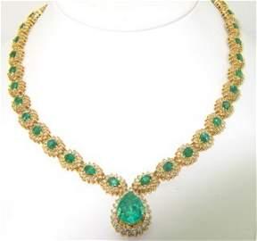 14K Yellow Gold, Emerald Diamond Necklace