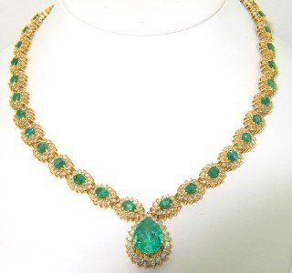 14K Yellow Gold, Emerald Diamond Necklace