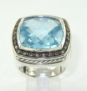15A: David Yurman Silver, Blue Topaz & Diamond Ring