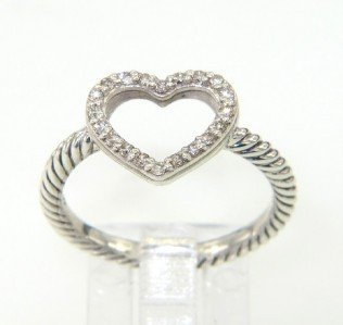 11A: David Yurman Silver, Diamond Ring