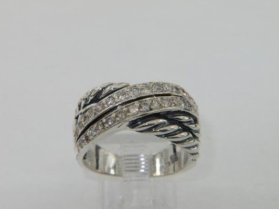 8B: David Yurman Silver Diamond Ring