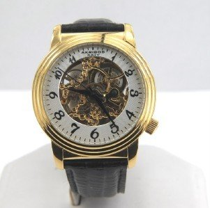 Akribos Stainless Steel Skeleton Leather Strap Watch