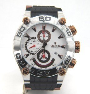 Croton Stainless Steel Chronograph Rubber Strap Watch