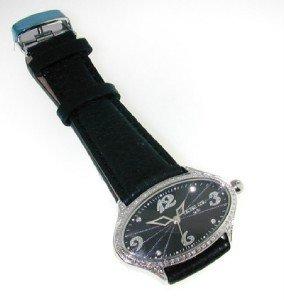 Techno Com Diamond Stainless Steel Leather Strap Watch