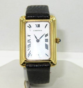 Cartier 18K Yellow Gold Leather Strap watch