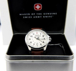 24: Wenger Stainless Steel Leather Strap Watch