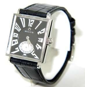 8: Milus Stainless Steel Leather Strap Watch