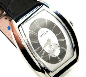 18A: Milus Stainless Steel Skeleton Leather Strap Watch