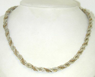 13A: Tiffany & Co 14K Yellow Gold, Silver Necklace