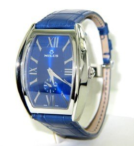 93A: 93A: Milus Stainless Steel Skeleton Leather Strap