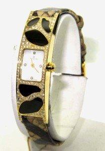 106A: 106A: Milus 18K Gold Diamond,Enamel Leather Strap