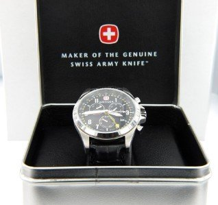 1: Wenger Stainless Steel Chronograph Leather Strap Wat