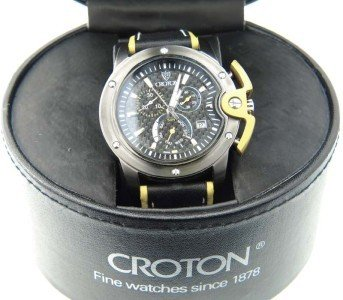 2: Croton Stainless Steel Chronograph Leather Strap Wat
