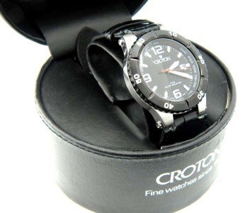 6: Croton Stainless Steel Leather Strap Watch