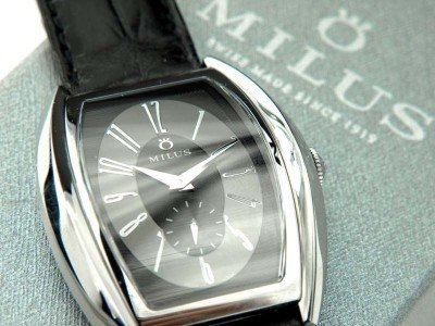 16: Milus Stainless Steel Skeleton Leather Strap Watch