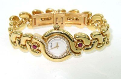 114: Jaeger Le Coultre 18K Yellow Gold Diamond & Ruby W