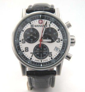9: Wenger Stainless Steel Chronograph Leather Strap Wat