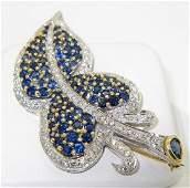 18K White Gold Diamond & Sapphire Pin