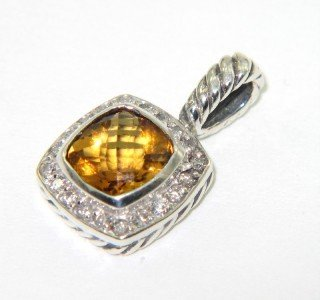 16: David Yurman Silver Citrine & Diamond Pendant