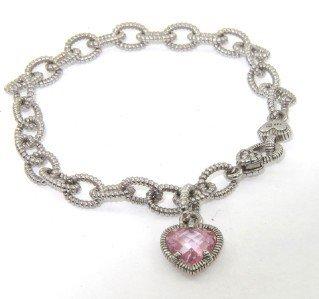 14A: Judith Ripka Silver Pink Topaz Bracelet