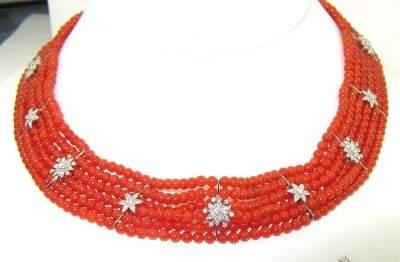 93A: 18K White Gold Coral & Diamond Necklace