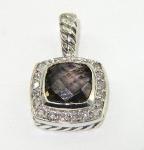 10A: David Yurman Silver Smoky Topaz  & Diamond Pendant