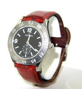 15B: Movado Stainless Steel Leather Strap Watch