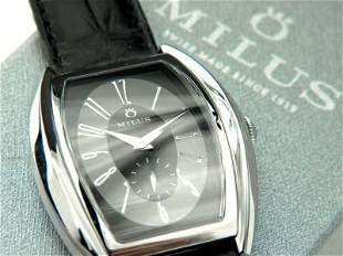 Milus Stainless Steel Skeleton Leather Strap Watch
