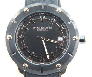 Stuhrling Stainless Steel Rubber Strap Watch