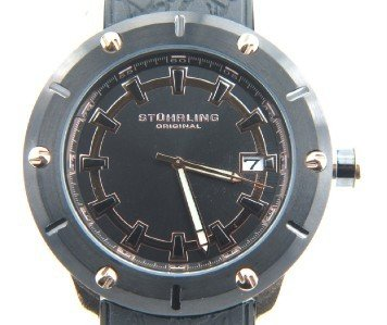 12: Stuhrling Stainless Steel Rubber Strap Watch