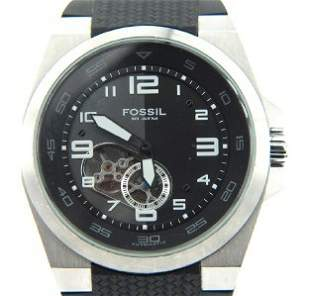 Fossil Stainless Steel Skeleton Rubber Strap Watch