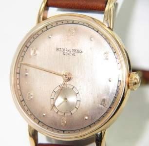 239: Patek Philippe 18K Rose Gold Leather Strap Watch