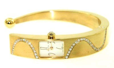 258: Milus 18K Yellow Gold Diamond Bangle Watch