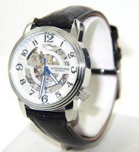 10A: Stuhrling Stainless Steel Skeleton Leather Strap W
